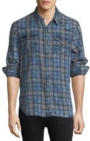 True Religion Plaid Denim Western Shirt