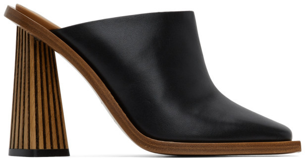 Givenchy Black Carved Mule Heels