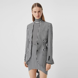 Burberry Gingham Technical Wool Blazer