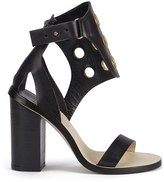 By Malene Birger Women's Subki Brass Eyelet Leather Sandals Black