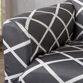 Winston Porter Form Fitting Stretch Diamond Printed Sofa Slipcover