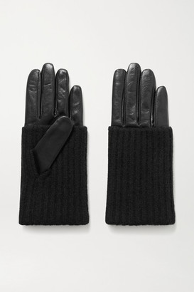 Portolano Leather And Ribbed Cashmere Gloves - Black