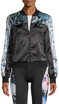 Roberto Cavalli Sport Snakeskin-Print Embellished Cropped Track Jacket