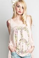 Lauren Moshi Macy Peace Daisy Oversized Open Shoulder Tee in Country Pink