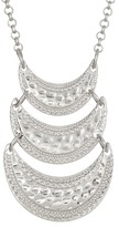 Stephan & Co Textured Triple Row Pendant Necklace