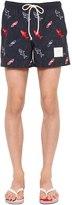 Thom Browne Shark Embroidered Nylon Swim Shorts
