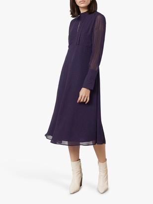 Finery Lorena High Neck Spot Dress, Multi Blue