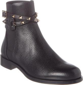 Valentino Rockstud Grainy Leather Boot