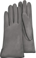 Forzieri Women's Gray Calf Leather Gloves w/ Silk Lining