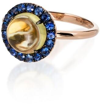 Rosa de la Cruz 18kt Yellow Gold Quartz And Blue Sapphire Ring
