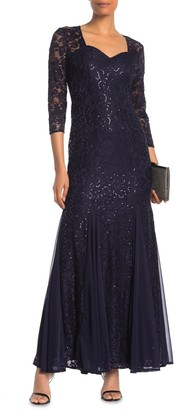 Onyx Nite Sweetheart Neck Floral Lace Sequin Gown (Regular & Plus Size)