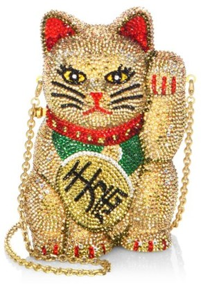 Judith Leiber Couture Maneki Neko Beckoning Cat Crystal Clutch