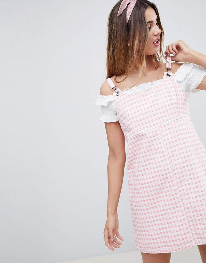 Asos Design Denim Gingham Pinafore Dress
