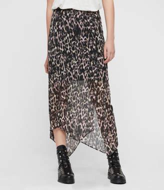 AllSaints Rhea Leopard Skirt