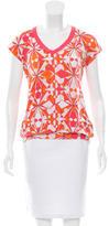 Emilio Pucci Cap Sleeve Geometric Print T-Shirt