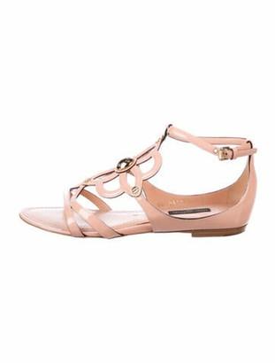 Louis Vuitton Patent Leather Cutout Accent Sandals Pink