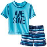 "Carter's Baby Boy Awesome"" Rash Guard & Swim Trunks Set"