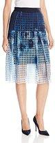 Elie Tahari Women's Dillan Printed Lasercut Neoprene Flared Skirt