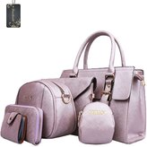 Donaword Women 6 Pcs Eegantady PUeather Handbag Shouder Bag Messenger Bag Purse Tote Set Bue