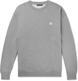 Acne Studios Forba Logo-Appliqued Melange Loopback Cotton-Jersey Sweatshirt