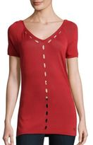 Versace Short Sleeve V-Neck Top