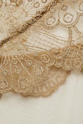 I.D. Sarrieri Metallic Embroidered Tulle Chemise