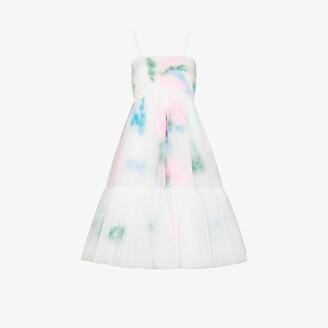 Susan Fang Layered Feather Midi Dress