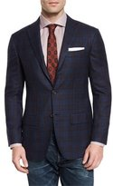 Kiton Plaid Cashmere Two-Button Sport Coat, Navy/Burgundy