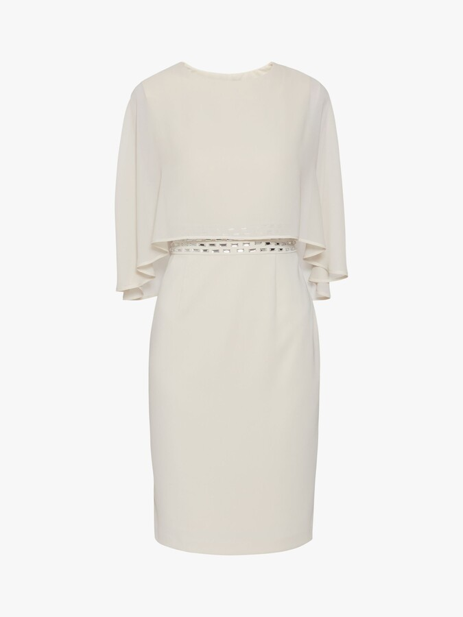 Thumbnail for your product : Gina Bacconi Vickie Moss Crepe Dress and Chiffon Cape