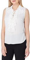 Tahari ASL Ruffled Lace Trim Blouse