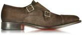 Santoni Dark Brown Suede Monk Strap Shoes