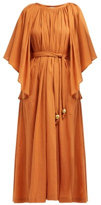 Lisa Marie Fernandez Angel-sleeve Cotton-seersucker Dress - Womens - Orange