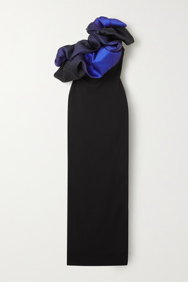 SOLACE London Cairns One-shoulder Ruffled Ombre Satin And Stretch-crepe Gown - Black