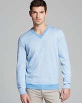 HUGO BOSS Julius Fine Stripe V-Neck Sweater