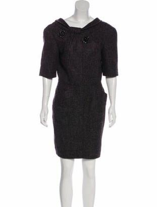 Oscar de la Renta Embellished Knit Dress Purple