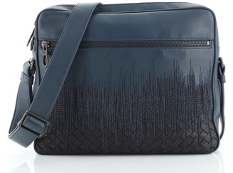 Bottega Veneta Front Zip Pocket Messenger Bag Leather with Embroidery and Intrecciato Detail