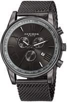 Akribos XXIV Men's Swiss Quartz Chronograph Stainless Steel Mesh Watch, 45mm