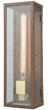 Williston Forge Bui Outdoor Wall Lantern Fixture Finish: Dark Wood Print/Brushed Brass