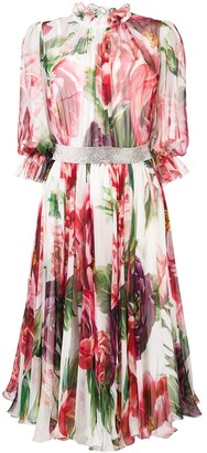 Dolce & Gabbana floral flared midi dress