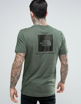 The North Face Red Box T-Shirt Back Logo in Green
