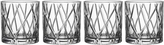 Orrefors City Set of 4 Crystal Double Old Fashioned Glasses