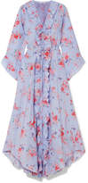 Vilshenko Maddison Ruffled Floral-print Silk Crepe De Chine Midi Dress - Lilac