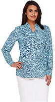 Denim & Co. As Is Animal Print Y-Neck Button Front Shirt