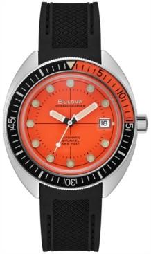 Bulova Men's Automatic Oceanographer Black Polyurethane Strap Watch 41mm