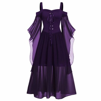 Malleable Fashion Women Plus Size Dress Elegant Cold Shoulder Butterfly Sleeve Lace Up Halloween Dress Dark Purple