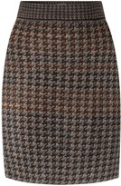 Studio Myr Knitted Knee Length Pencil Skirt In Pieds-De-Poule Pattern Tweed-Raven