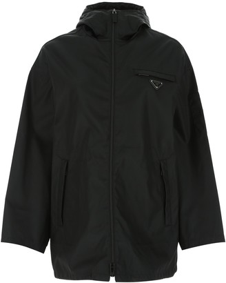 Prada Logo Plaque Hooded Jacket