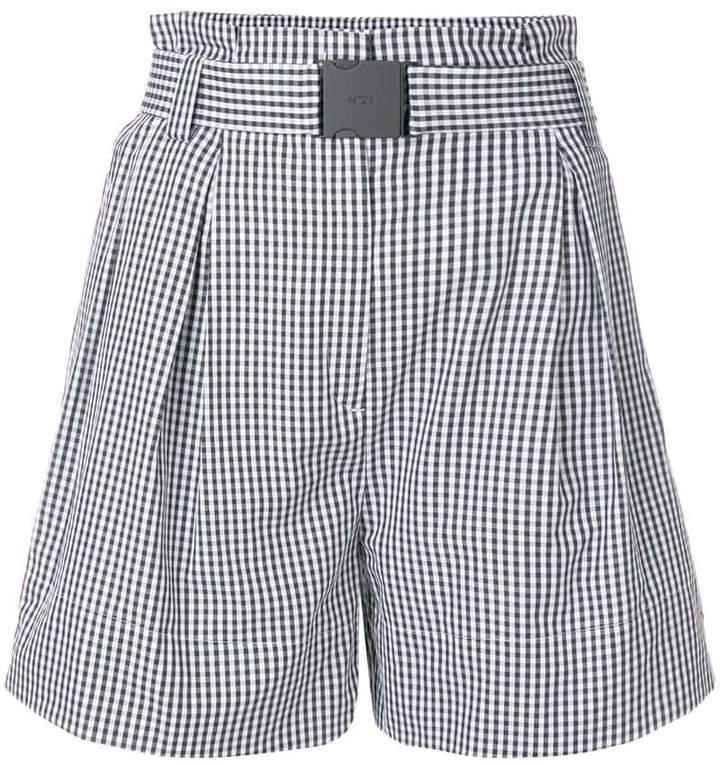 No.21 flared checked shorts