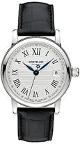 Montblanc 107115 Star Date Automatic Stainless Steel Alligator Strap Watch, Black/silver