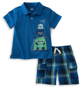 Kids Headquarters Baby Boys Monster Polo and Plaid Shorts Set